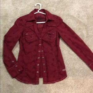 Women's Dark Red Guess Long Sleeve Shirt